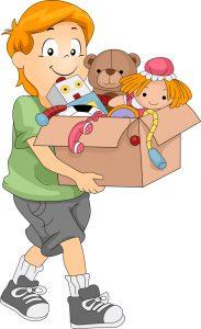 Låda med leksaker